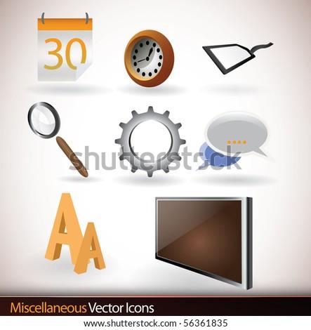Miscellaneous Icons | Vector Set - stock vector