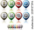 Miscellaneous internet (web) icons set, pictured here from left to right: Man, Dog, Communication, CD-ROM - stock vector