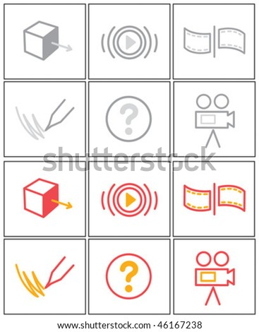 miscellaneous multimedia icons - stock vector