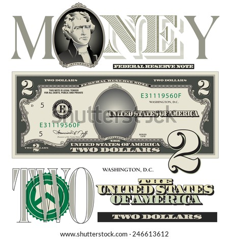 Miscellaneous two dollar bill elements - stock vector