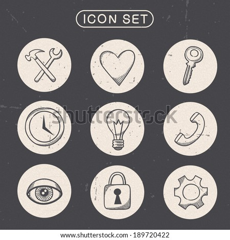 Miscellaneous vintage symbols set. Sketch icons pictograms collection. Eps 10 vector illustration. - stock vector