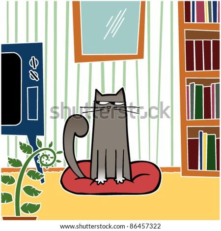 Mischievous Cat Sitting in living room - stock vector