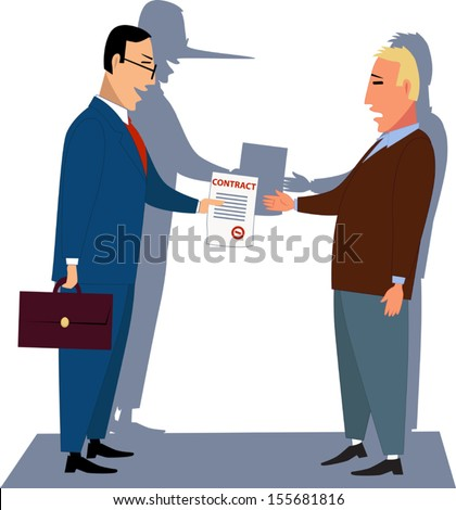 Misleading contract. Businessman handling a contract to a customer, his shadow showing a long lair's nose, vector illustration - stock vector