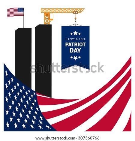 Miss You Patriot Day. American Flag Composition. 9/11 Patriot Day background, Patriot Day September 11, 2001 Poster Template, we will never forget you, Vector illustration for Patriot Day - stock vector