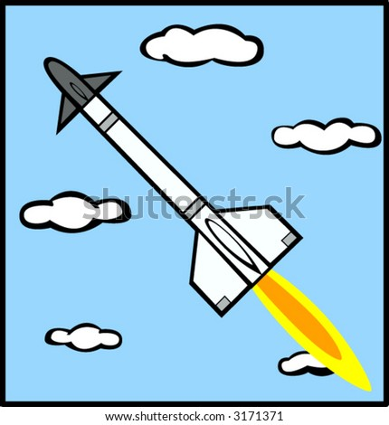 missile and clouds - stock vector