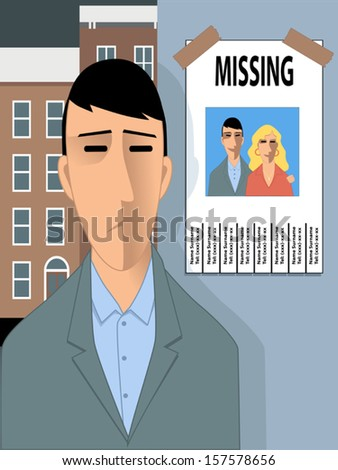 Missing happiness. Sad man looking at a missing poster with a photo of him and a young woman, happy. Vector illustration for divorce, relationship conflict or erectile dysfunction - stock vector