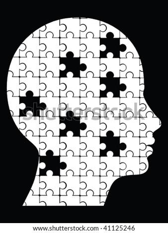 missing pieces puzzle head vector - stock vector