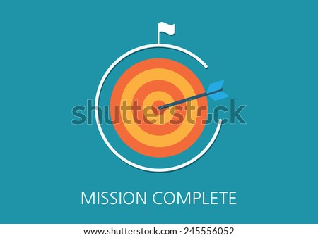 mission complete concept flat icon - stock vector