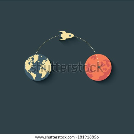 Mission to Mars concept. Eps10 vector illustration. - stock vector