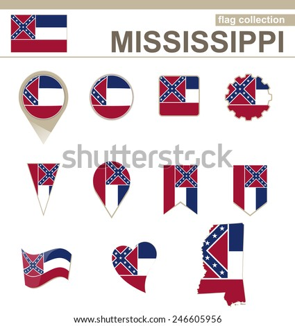 Mississippi Flag Collection, USA State, 12 versions - stock vector