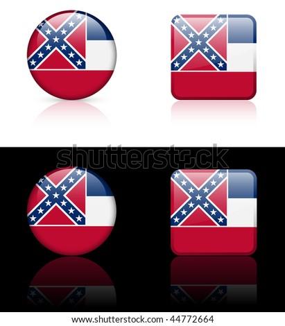 Mississippi Flag Icon on Internet Button Original Vector Illustration AI8 Compatible - stock vector