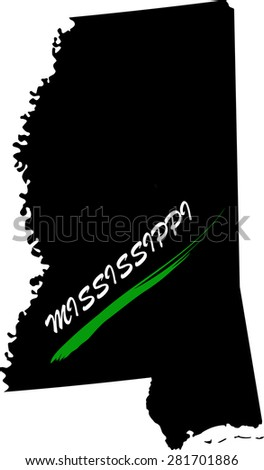 Mississippi map vector in black and white background, Mississippi map outlines in a new design - stock vector
