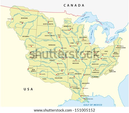 mississippi river map - stock vector