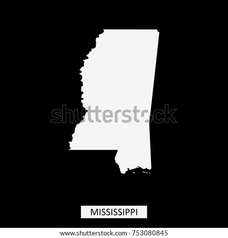Mississippi State Usa Map Vector Outline Stock Vector - Us map vector outline