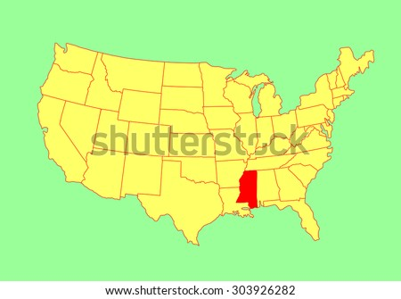 Mississippi State, USA, vector map isolated on United states map. Editable blank vector map of USA. - stock vector