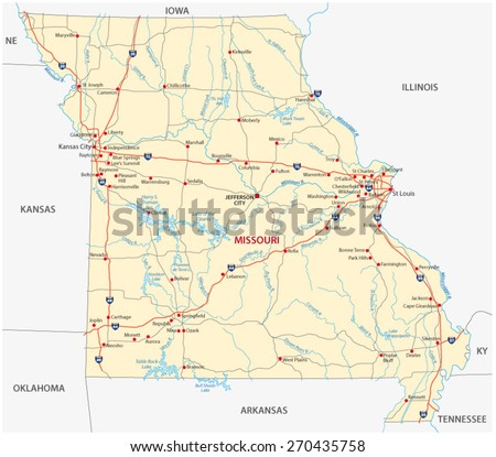 Missouri Road Map Stock Vector Shutterstock - Missouri road map