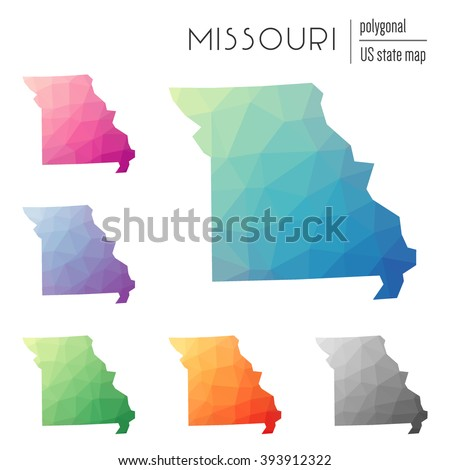 Missouri state map in geometric polygonal style. Set of Missouri state maps filled with abstract mosaic, modern design background. Multicolored state map in low poly style. - stock vector
