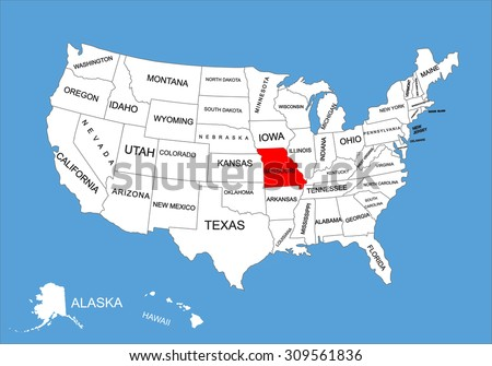 Missouri State, USA, vector map isolated on United states map. Editable blank vector map of USA.  - stock vector