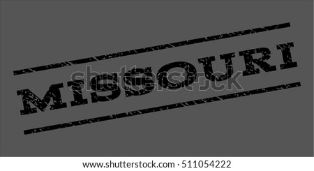 Missouri watermark stamp. Text caption between parallel lines with grunge design style. Rubber seal stamp with dust texture. Vector black color ink imprint on a gray background.
