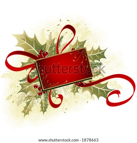 Mistletoe and ribbon clip-art - stock vector