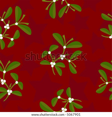 Mistletoe and stars seamless pattern (vector illustration, each component in a separate layer) - stock vector