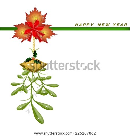 Mistletoe Bunch, Maple Leaves and Golden Bell Hanging on A Red Bow on Greeting Card, Sign for Christmas Celebration.  - stock vector