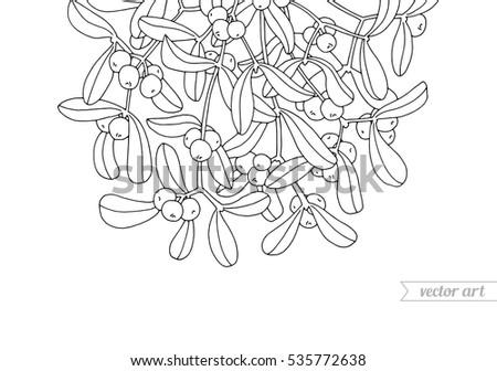 mistletoe hanging kissing bough christmas decoration stock vector rh shutterstock com Nutcracker Clip Art Coloring Book Adult Coloring Books