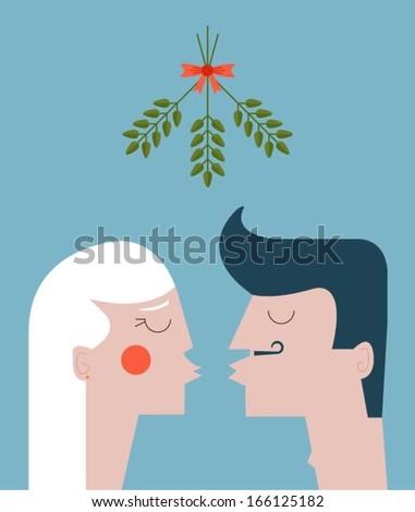 Mistletoe kiss - stock vector