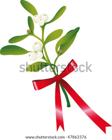 Mistletoe with red ribbon - stock vector