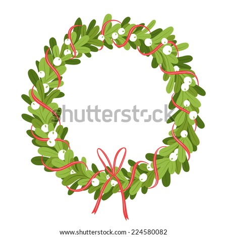 Mistletoe wreath isolated on white, vector illustration - stock vector