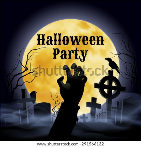 Misty graveyard with crooked crosses and an evil raven under full Moon with zombie hand - stock vector