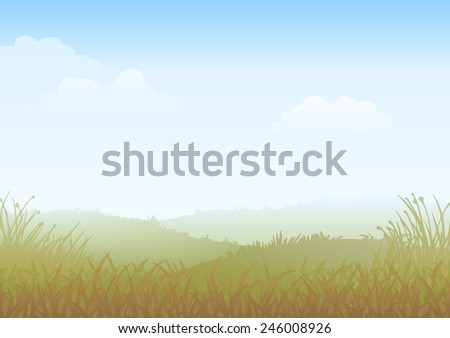 Misty Morning Vector Countryside landscape, with fields of grass  - stock vector