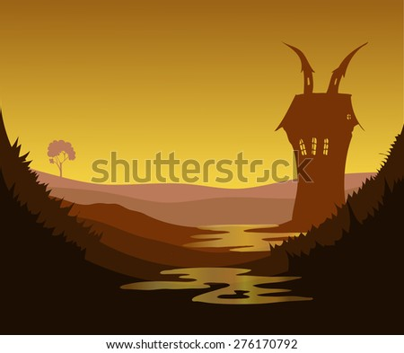 Misty Swamp Mansion Environment at Dusk, Vector Illustration. - stock vector