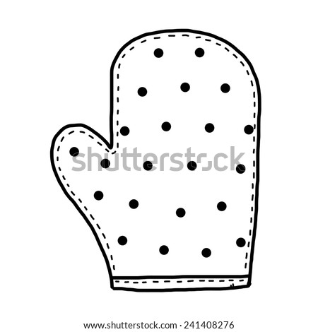 mitten glove / cartoon vector and illustration, black and white, hand drawn, sketch style, isolated on white background. - stock vector