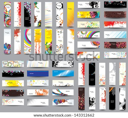 Mix Collection vertical and horizontal headers - stock vector