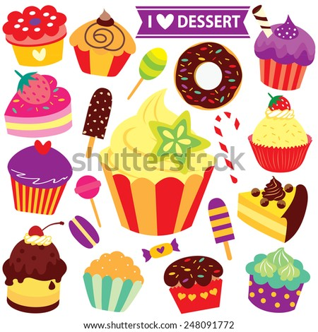 mix desserts clip art - stock vector