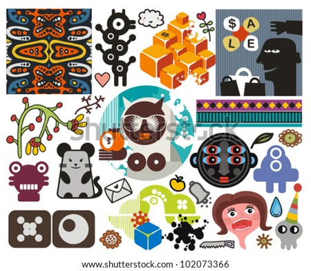 Mix of different vector images and icons. vol.51 - stock vector
