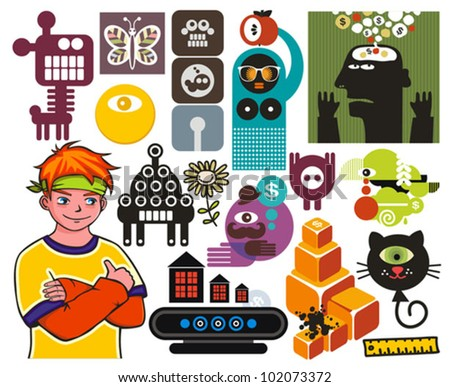 Mix of different vector images and icons. vol.52 - stock vector