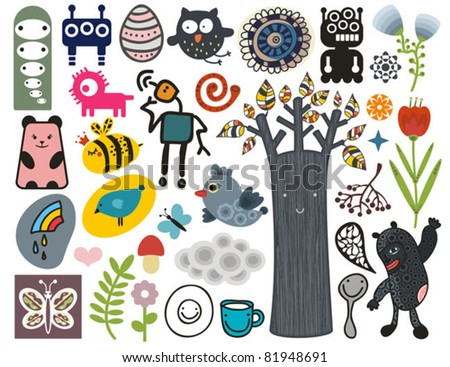 Mix of different vector images and icons. vol.12 - stock vector