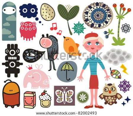 Mix of different vector images and icons. vol.13 - stock vector