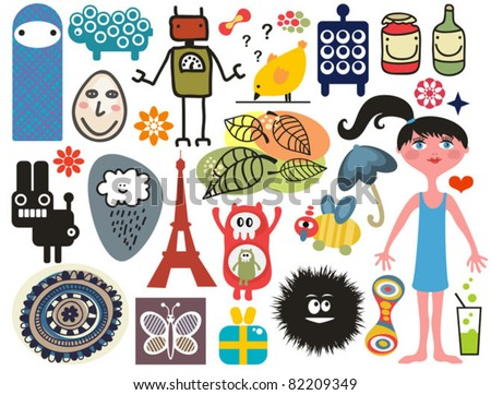 Mix of different vector images and icons. vol.14 - stock vector