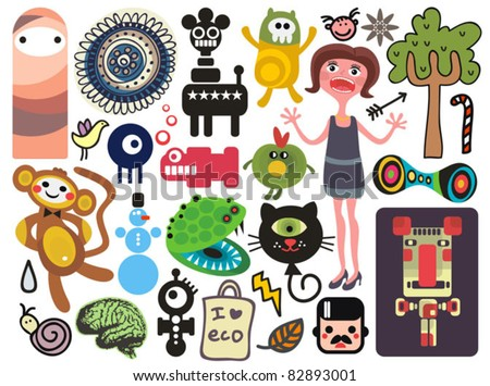 Mix of different vector images and icons. vol.18 - stock vector