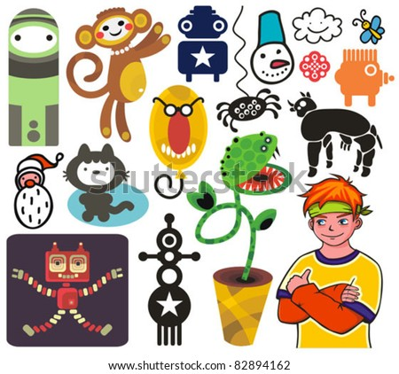 Mix of different vector images and icons. vol.19 - stock vector