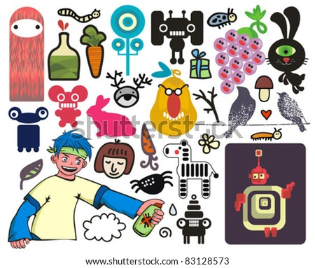 Mix of different vector images and icons. vol.20 - stock vector