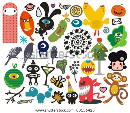 Mix of different vector images and icons. vol.21 - stock vector