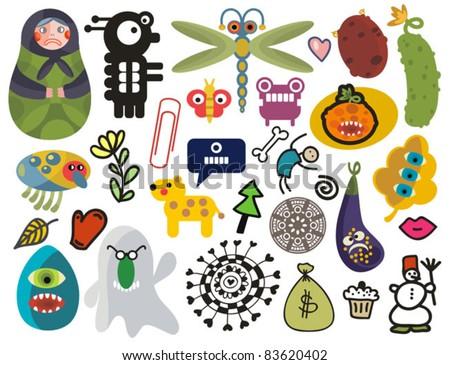 Mix of different vector images and icons. vol.24 - stock vector