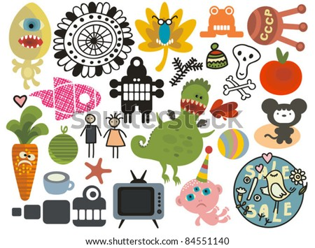 Mix of different vector images and icons. vol.26 - stock vector