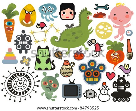 Mix of different vector images and icons. vol.27 - stock vector