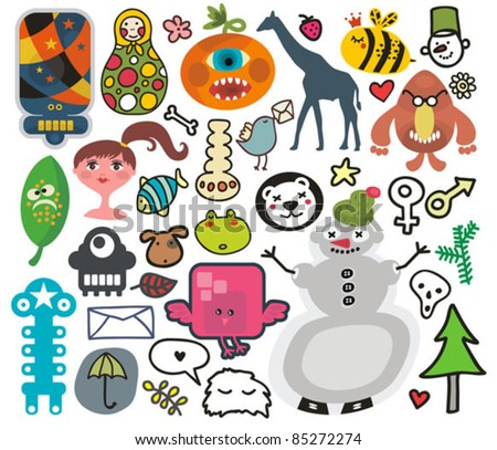 Mix of different vector images and icons. vol.30