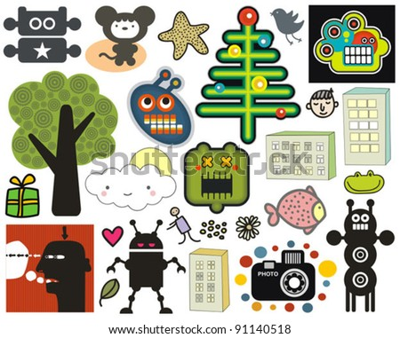 Mix of different vector images and icons. vol.35 - stock vector
